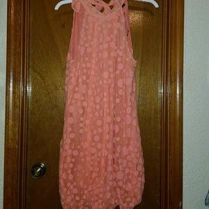 Dresses & Skirts - Orange Dot Mesh Overlay Dress